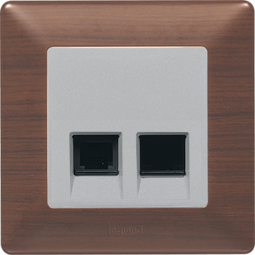 Double RJ 45 socket CAT 5E UTP
