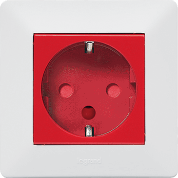2P+E socket with shutters and automatic terminals - german standard - red color